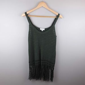 3/$20 Cloud Chaser Green Knit Tank Top Fringe M